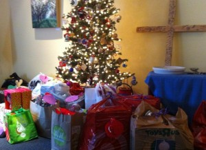 AngelTree gifts in the sanctuary