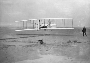 The Wright Brothers; first powered flight