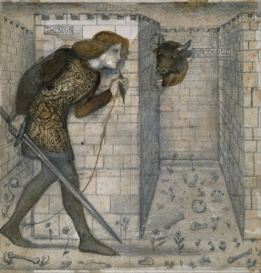 Theseus and the Minotaur in the Labyrinth by Edward Burne Jones, in the public domain