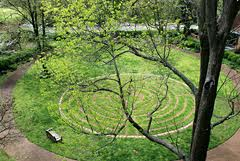 aerial view of outdoor labyrinth