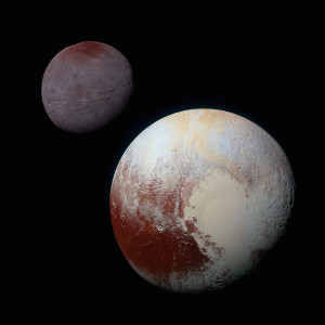 Identically processed enhanced-color views of Pluto and Charon Public Domain; Created: 21 September 2015